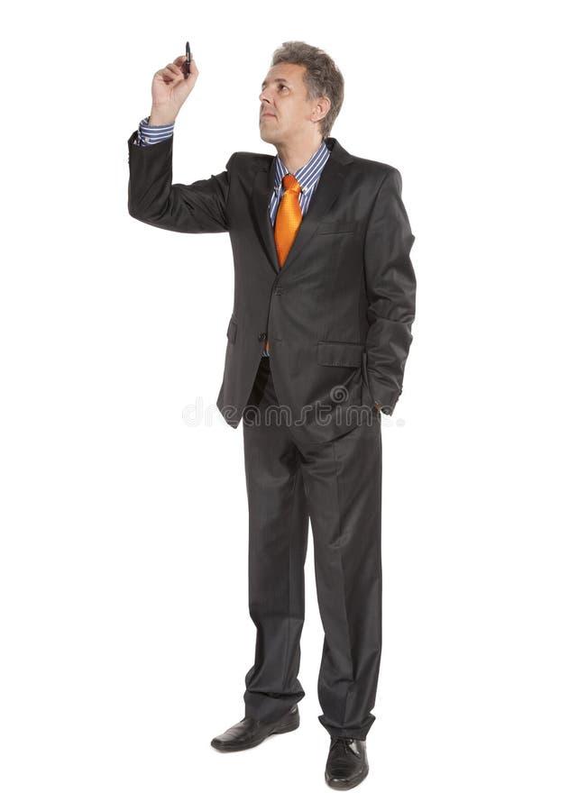 Businessman Holding Pencil Stock Image