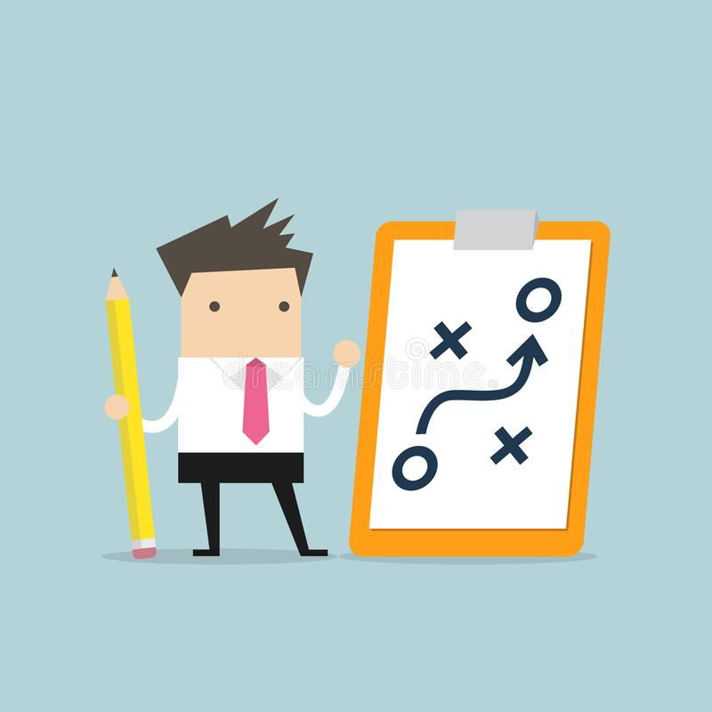 Businessman holding pencil and paper of planning strategy concept. Business tactic. Clipboard pencil. stock illustration