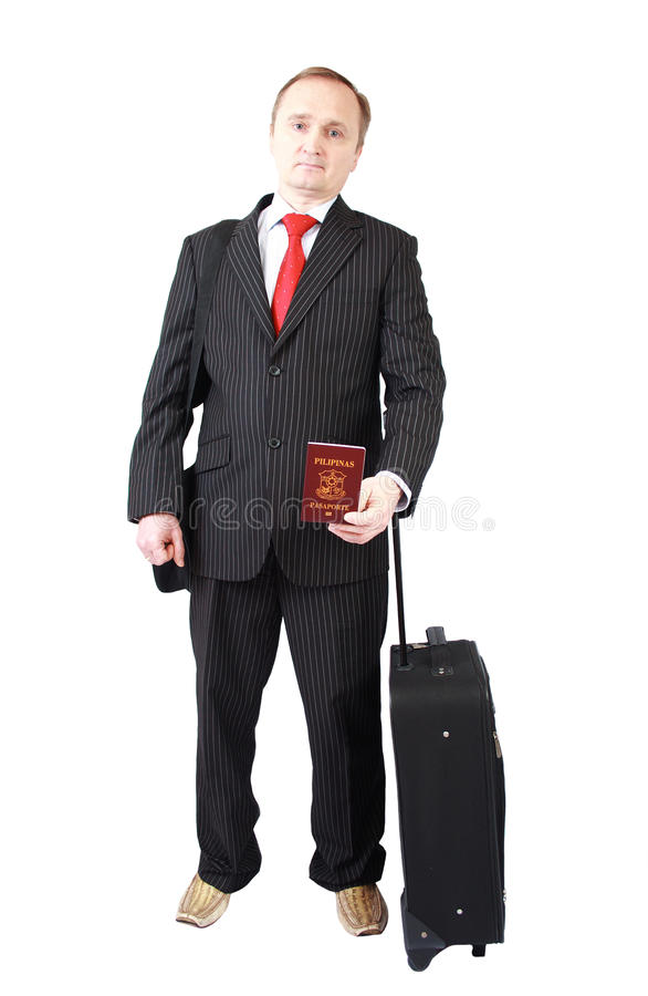 Businessman holding Philippine passport royalty free stock images