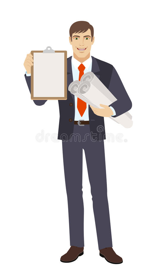 Businessman holding the project plans and clipboard stock illustration