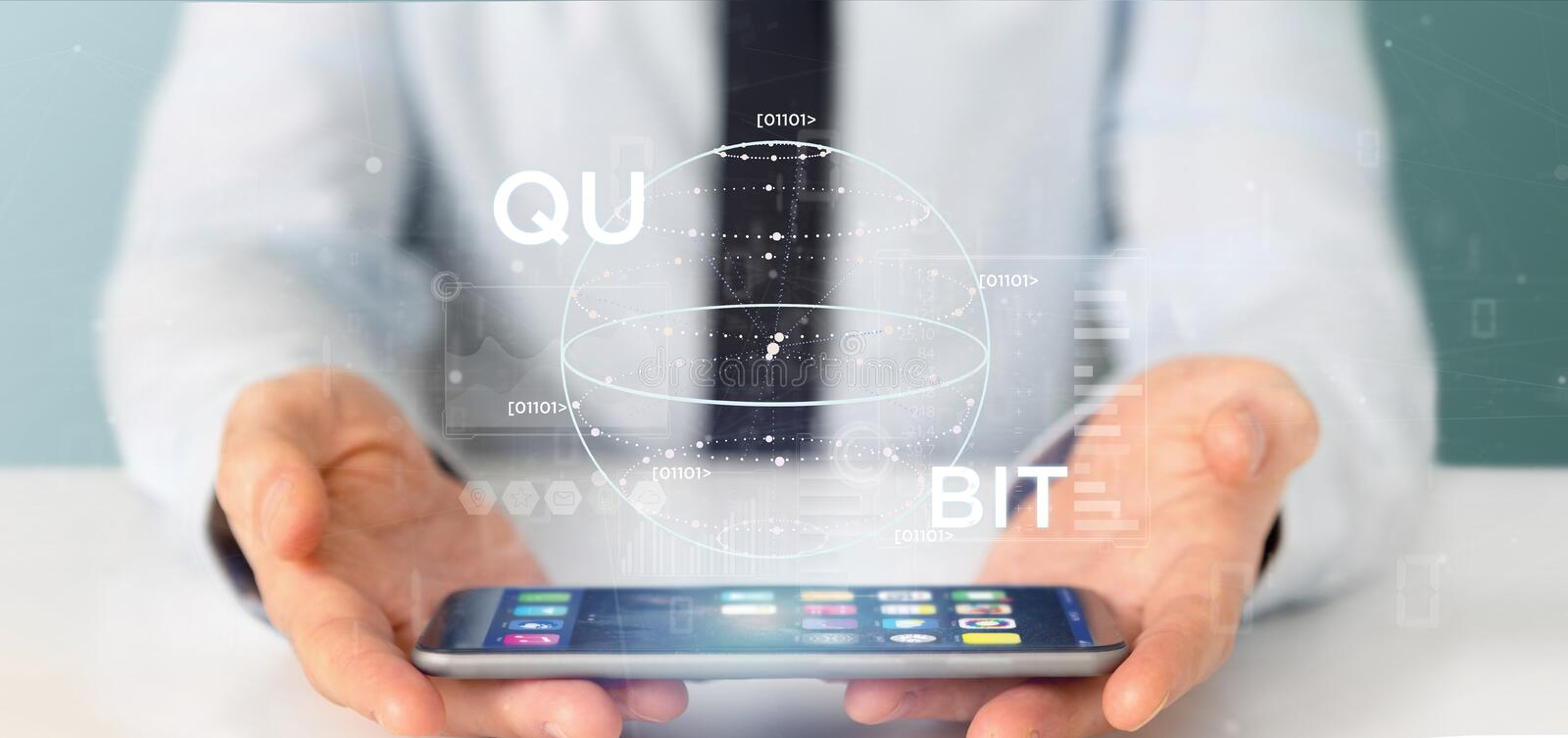 Businessman holding Quantum computing concept with qubit icon 3d rendering. View of Businessman holding Quantum computing concept with qubit icon 3d rendering stock photo