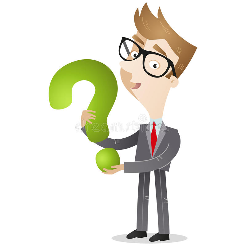 Businessman holding question mark vector illustration