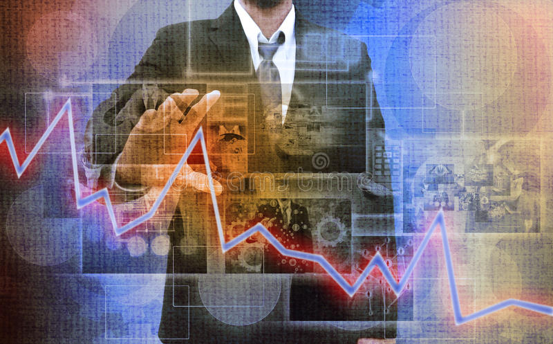 Businessman holding Reaching images streaming in hands .Financial and technologies concepts. Business man holding Reaching images streaming in hands .Financial royalty free stock photo