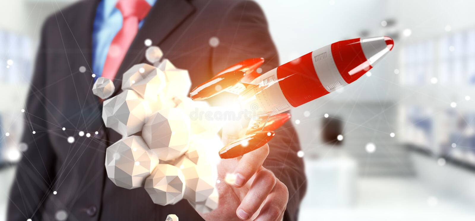 Businessman holding red rocket in his hand 3D rendering stock illustration