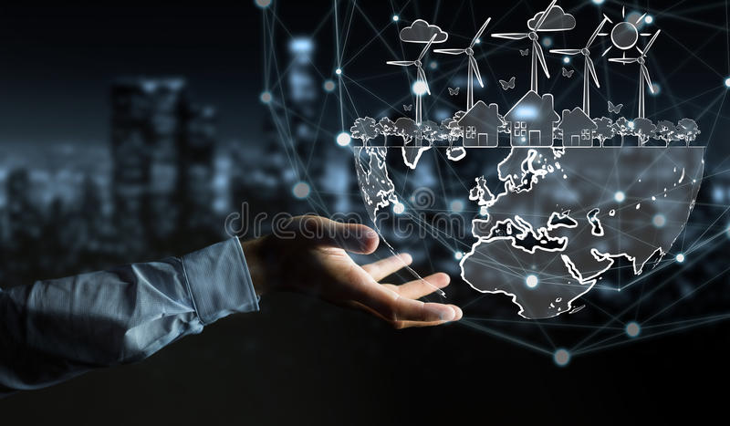 Download Businessman Holding Renewable Energy Sketch Stock Photo - Image of city, holding: 94909288