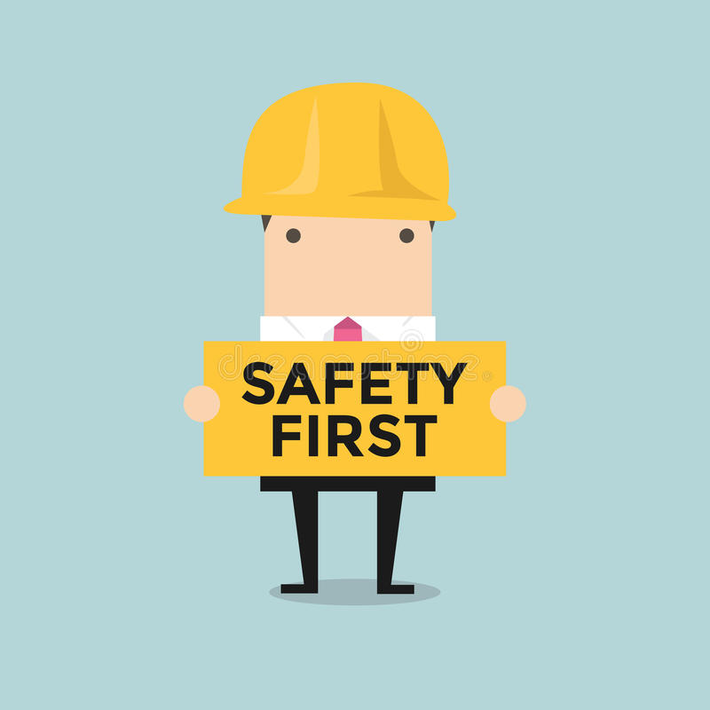 Businessman Holding Safety First Sign Stock Vector ...