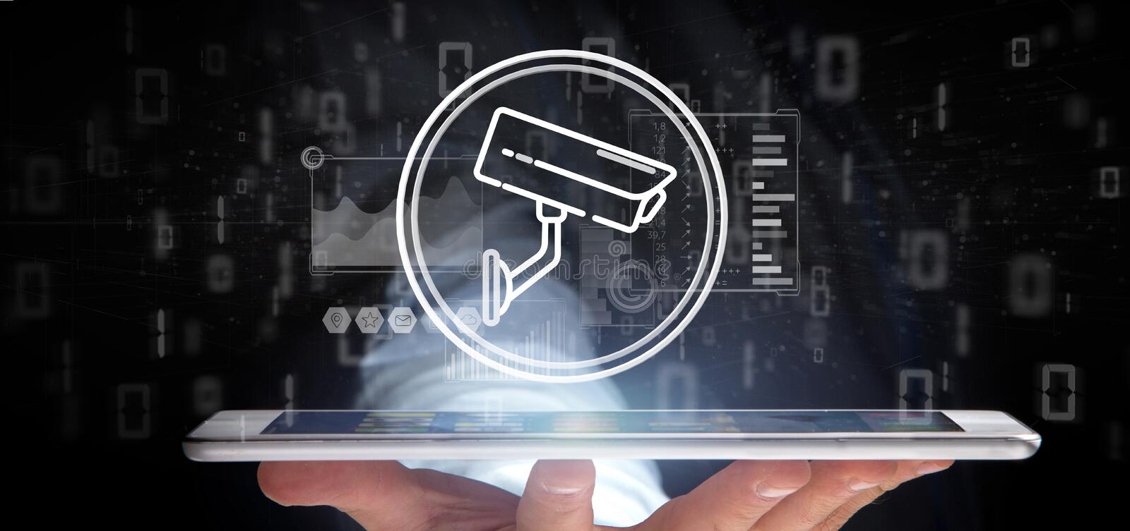 Businessman holding Security camera system icon and statistics data - 3d rendering stock image