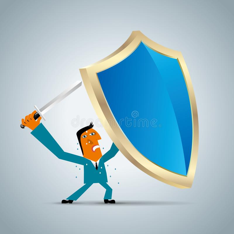 Businessman holding a shield and a sword royalty free illustration