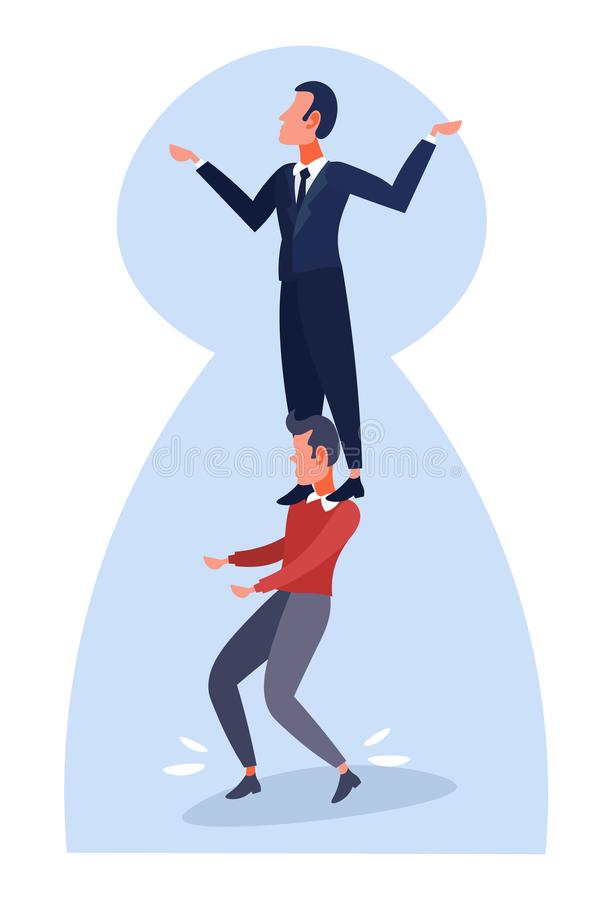 Businessman holding on a shoulders colleague teamwork concept keyhole background boss stand on employee working career. Flat vertical vector illustration vector illustration