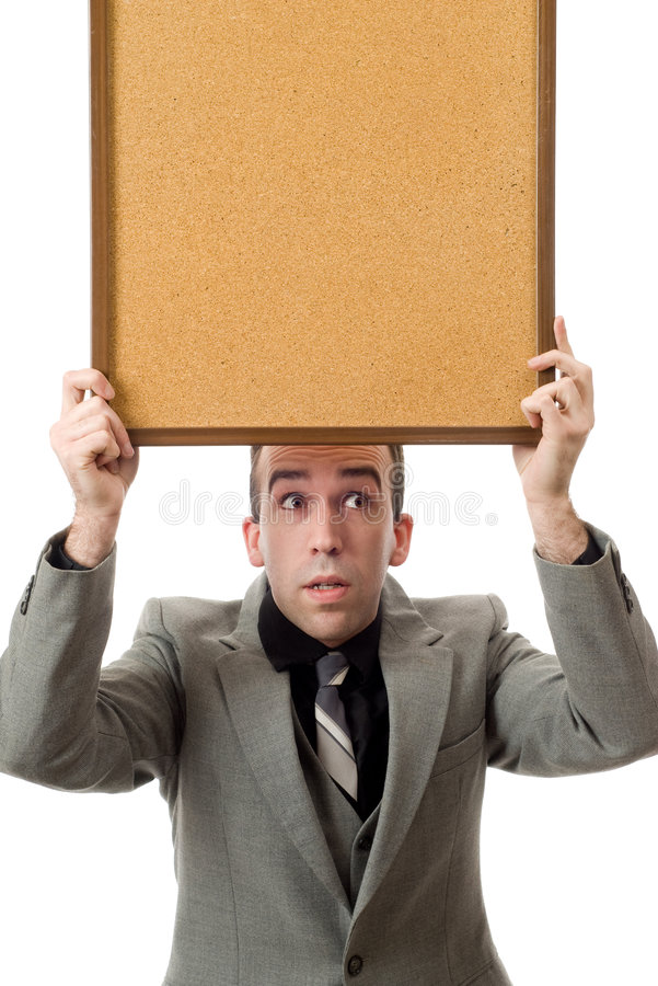Businessman Holding A Sign royalty free stock image