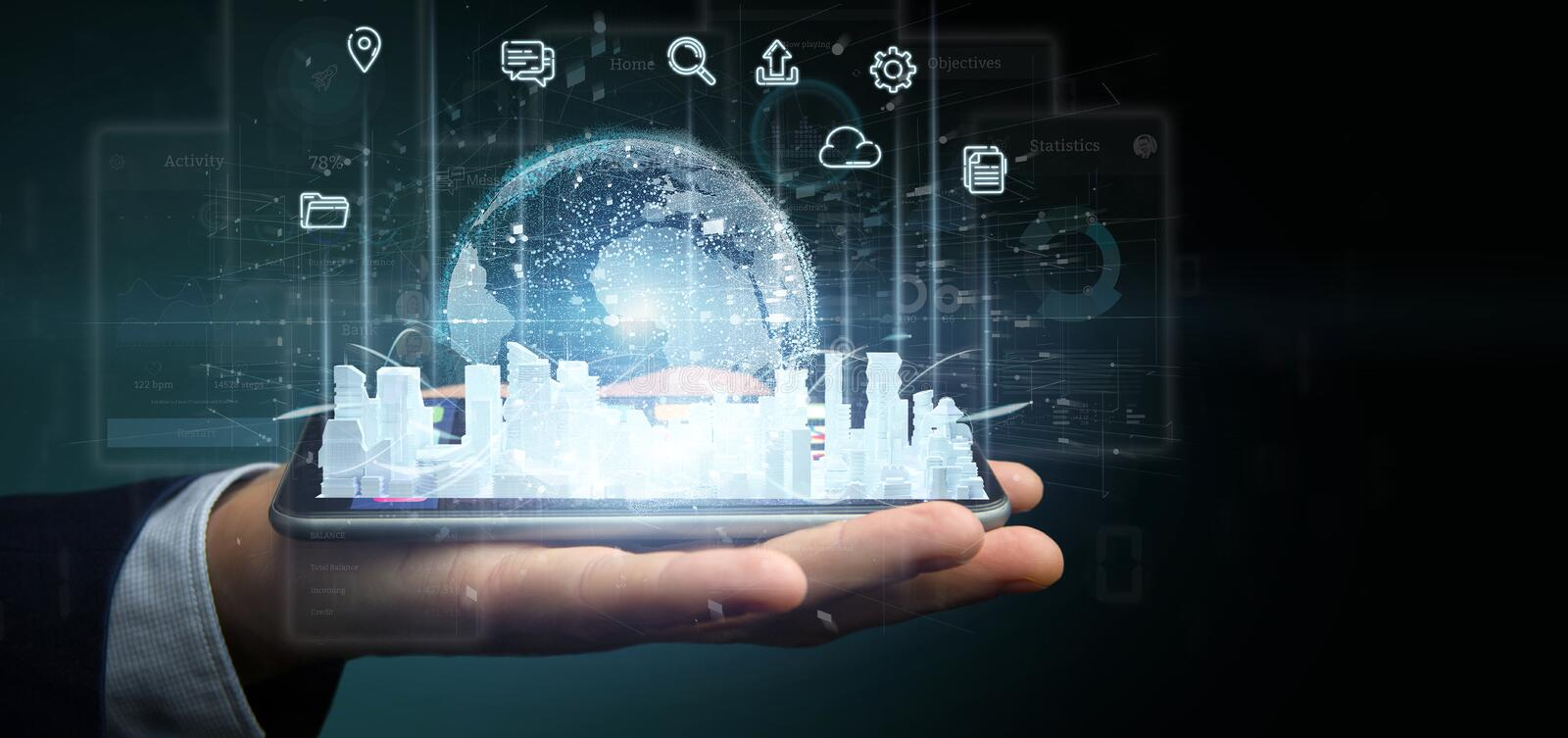 Businessman holding Smart city user interface with icon, stats and data 3d rendering stock photos