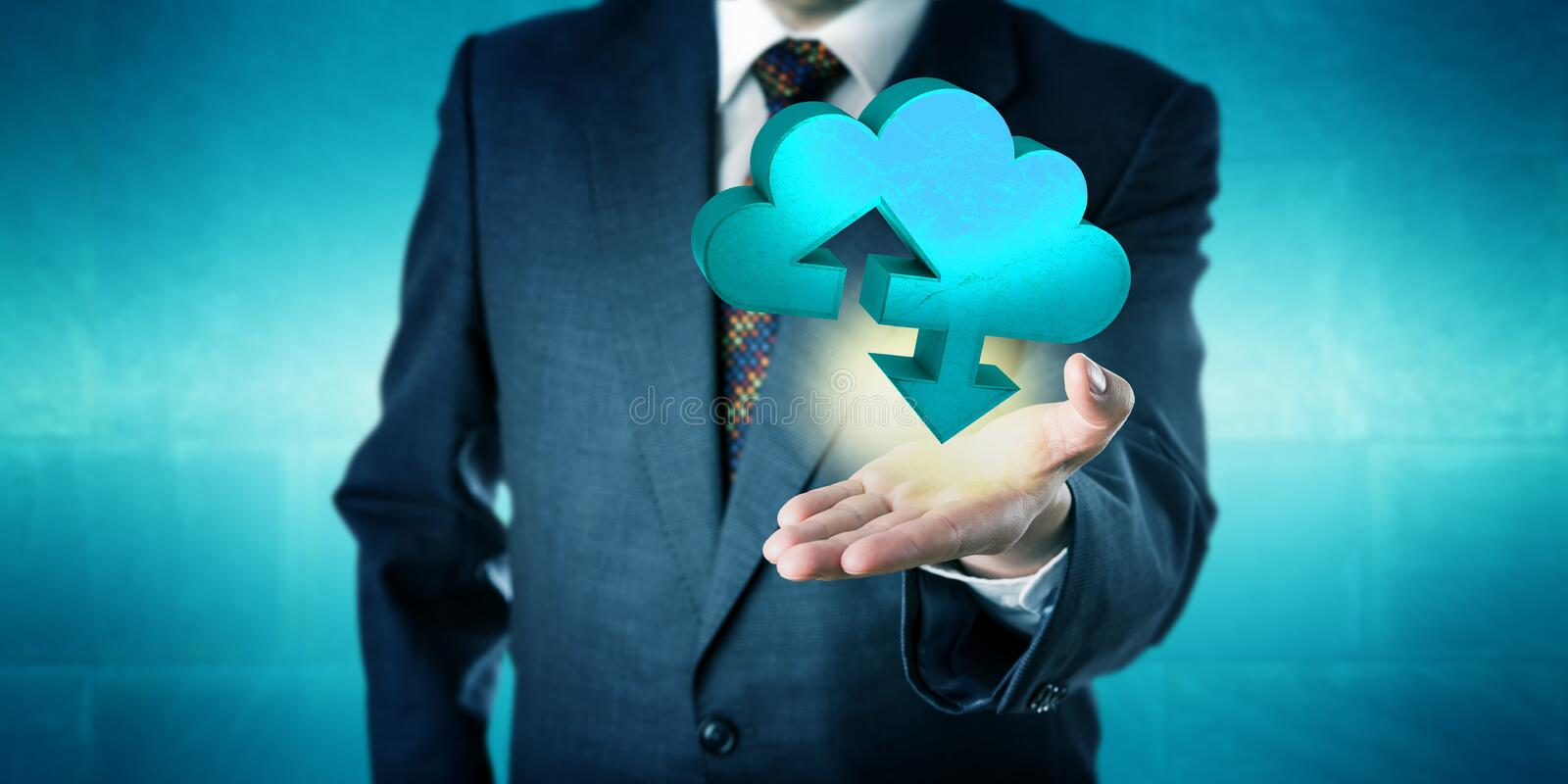 Businessman Holding A Solid Cloud Transfer Icon stock image