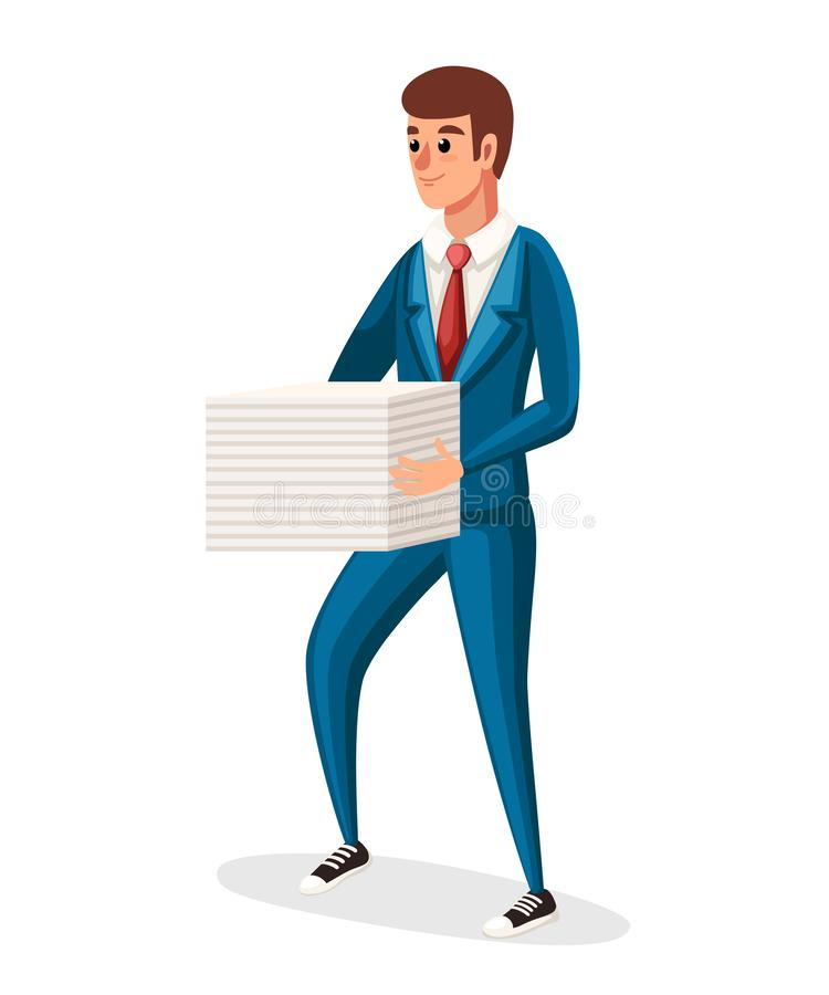 Businessman holding a stack of papers. Blue classic costume with red tie. Flat  illustration isolated on white background. stock illustration