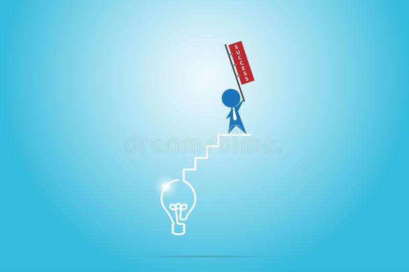 Businessman holding success flag on the stair of light bulb, success and business concept stock photography