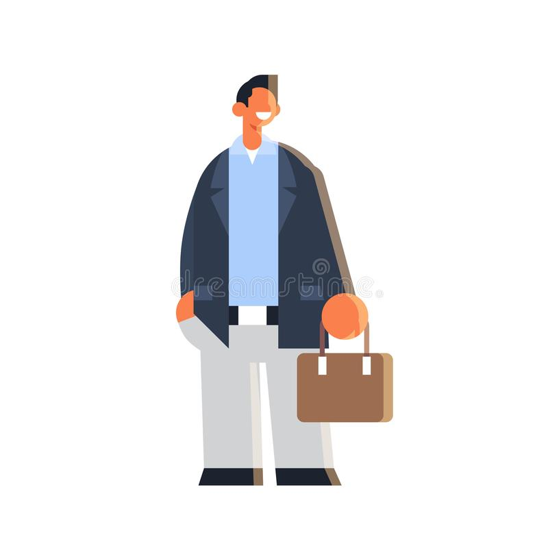 Businessman holding suitcase happy business man standing pose success concept male office worker in formal wear flat stock illustration