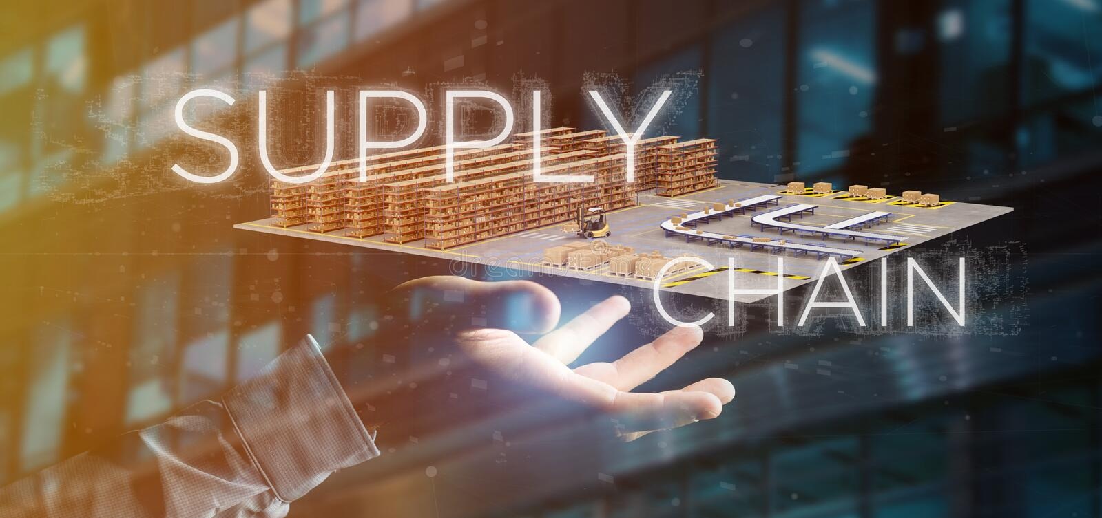 Businessman holding a Supply Chain title with a warehouse on background 3d rendering stock photo