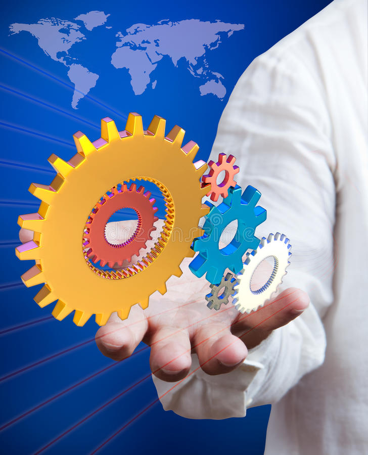 Businessman holding synergy gears. Business man holding synergy gears, business success concept stock images