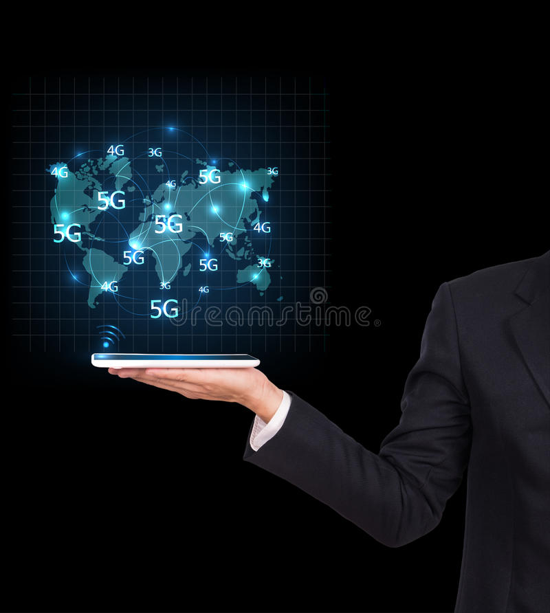 Businessman holding a tablet. Business communication royalty free stock image