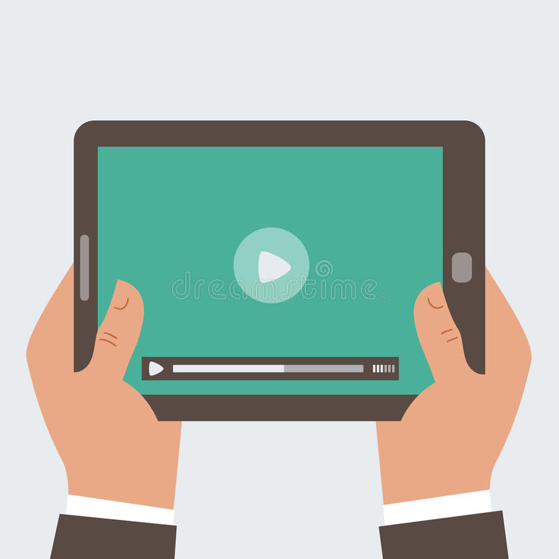 Free Businessman Holding Tablet Computer With Video Pl Royalty Free Stock Photography - 36094627