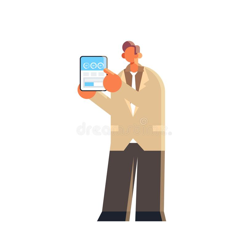 Businessman holding tablet with financial diagram business man presenting statistic data report male office worker in. Formal wear flat full length vector stock illustration