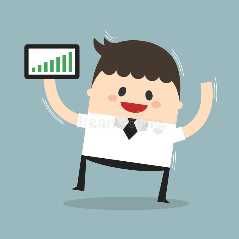 Businessman holding a tablet with growing graph vector illustration