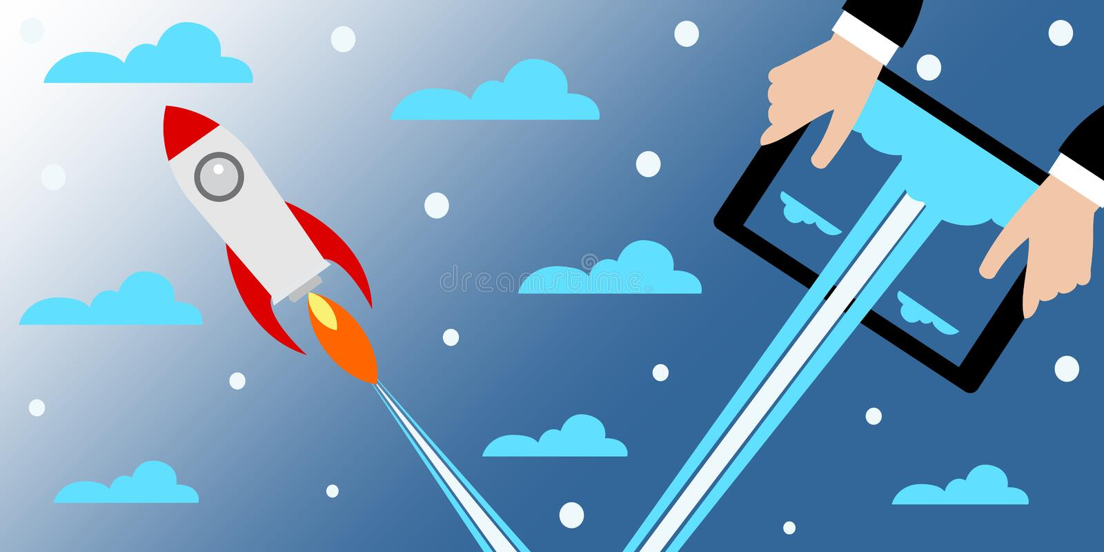 Businessman holding a tablet with a rocket.Concept of Start up. royalty free illustration