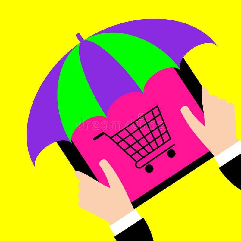 Businessman holding tablet with umbrella and cart on screen. vector illustration