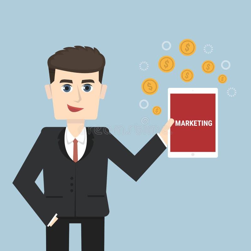 Businessman holding a tablet, vector illustion flat design style. vector illustration