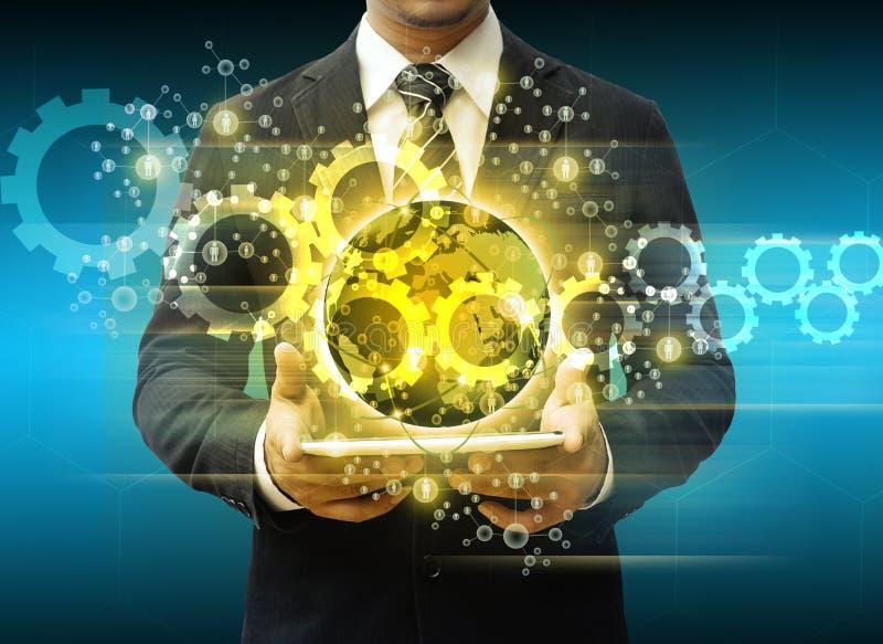 Technology Management Image: Businessman Holding Tablet World Technology Social Media