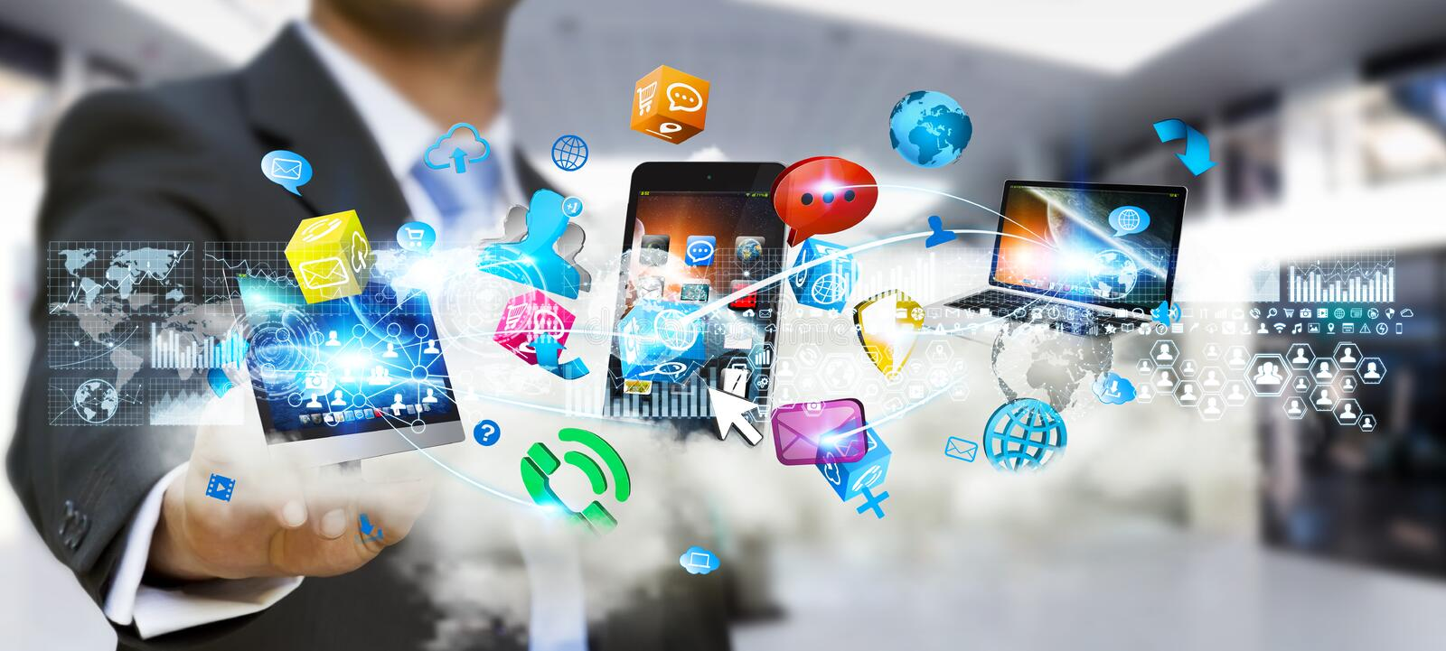 Businessman holding tech devices and icons applications over a c vector illustration