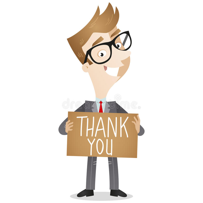 Businessman holding Thank you note royalty free illustration