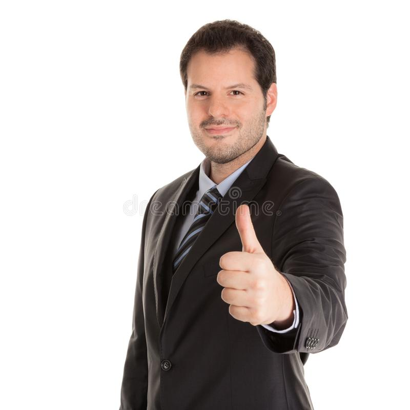 Businessman holding thumbs up isolated on white background. Business and service concept stock photography