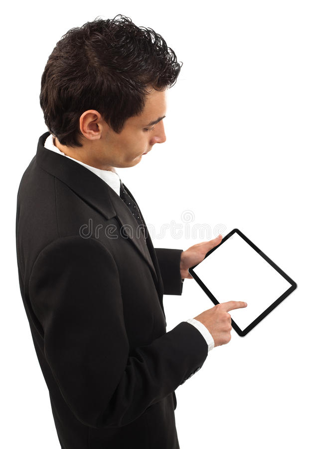 Businessman holding a touchpad pc royalty free stock photo