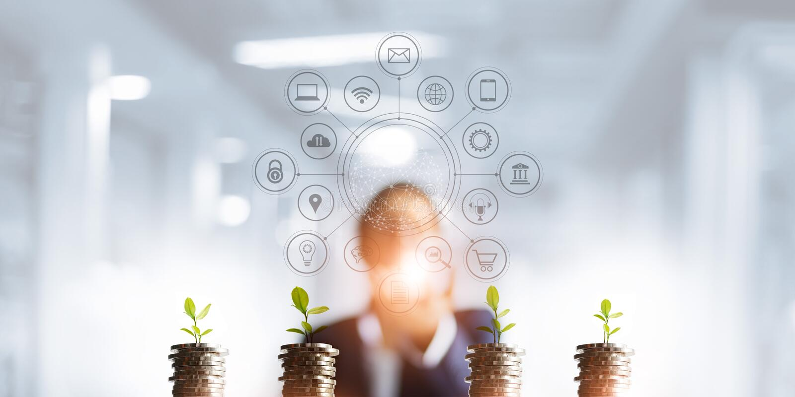 Businessman holding a tree sprout growing on coins, abstract growth investing. Finance and icon customer, banking network stock image