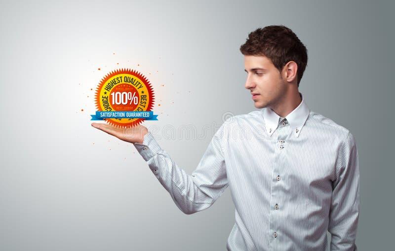 Businessman holding virtual business sign stock illustration