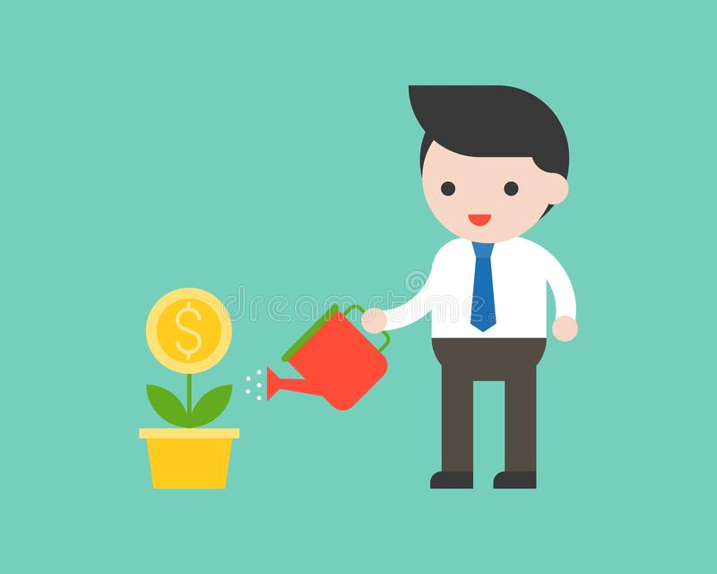 Businessman holding watering can watering plant business situation investment concept royalty free illustration