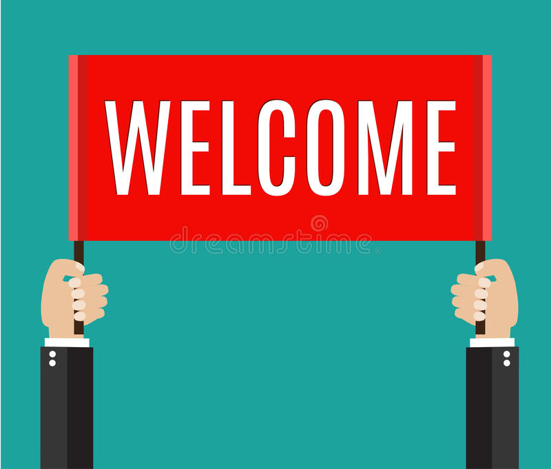 Businessman Holding Welcome Sign Stock Vector ...