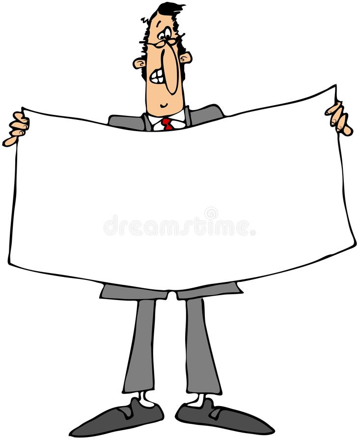 Businessman holding a white banner stock illustration