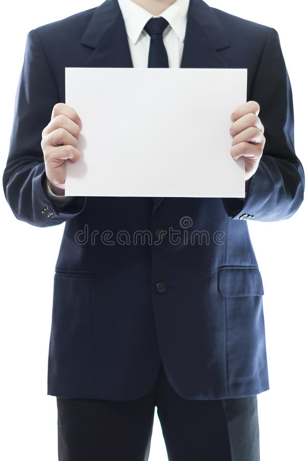 Download Businessman Holding A White Piece Of Paper Royalty Free Stock Photo - Image: 30910035