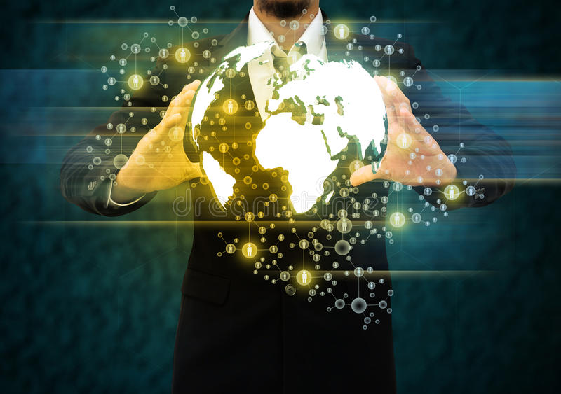 Businessman holding world technology. Business man holding world technology stock image