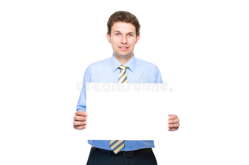 Download Businessman Holds Empty, Blank Card, Copyspace Stock Photo - Image: 14828746