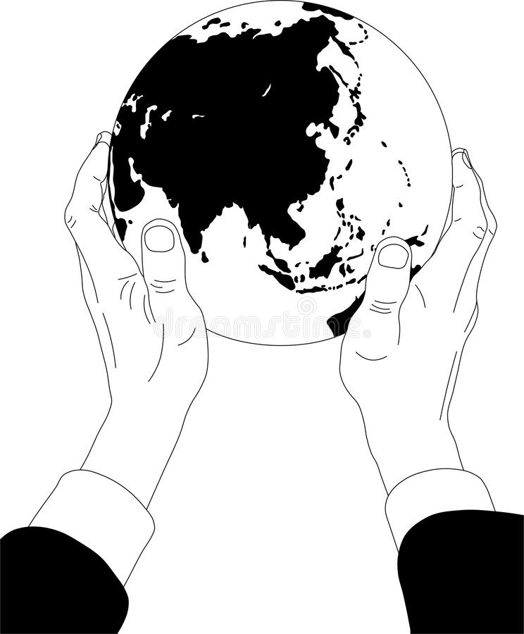 Businessman holds the globe vector illustration