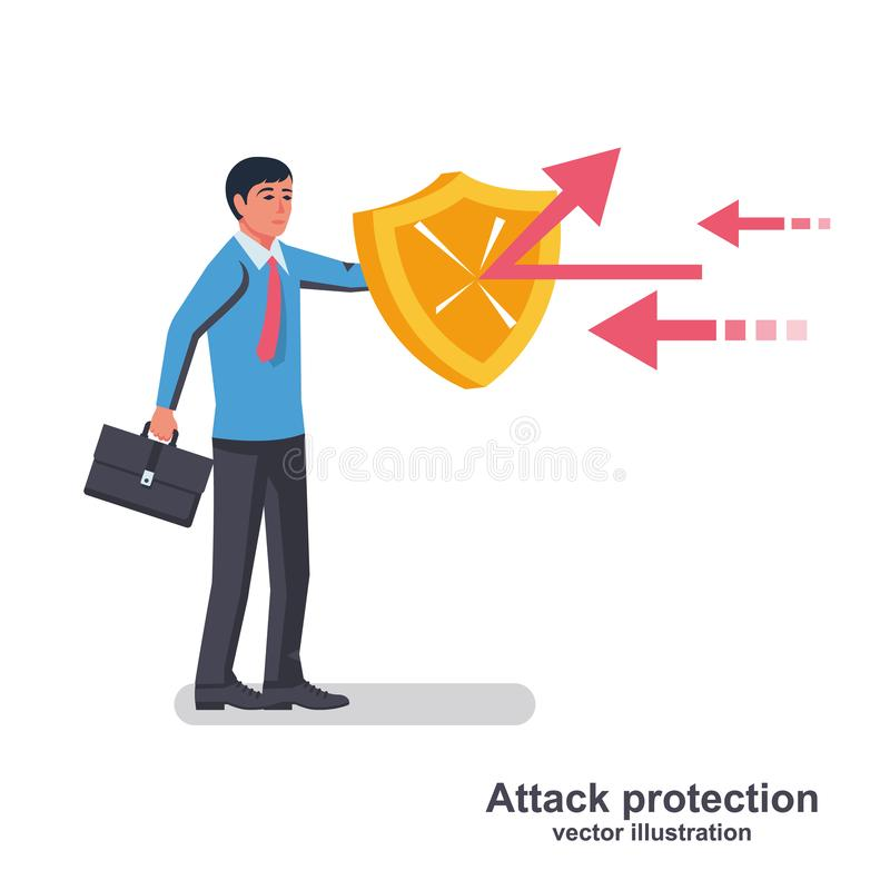Businessman holds a shield defending from attacks. Attack protection. Reflection impact. Vector illustration flat design. Isolated on white background vector illustration