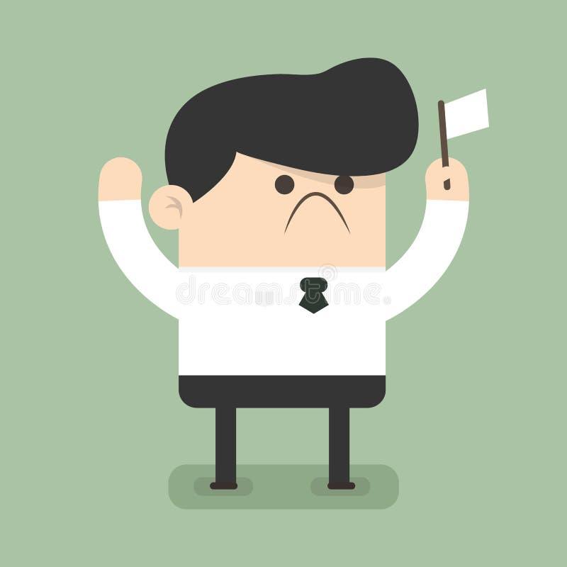 Businessman holds white flag of surrender. Businessman holds white flag of surrender, flat design vector illlustion eps10 vector illustration