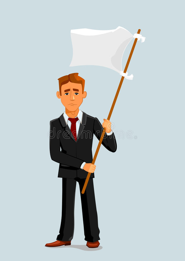 Businessman holds white flag of surrender. Capitulation and defeat business metaphor with man vector character vector illustration