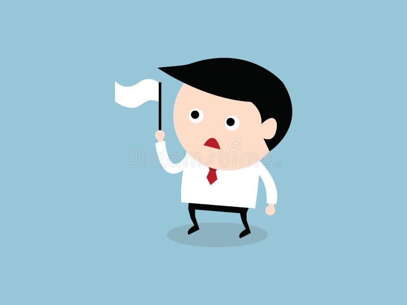 Businessman holds white flag of surrender,. Flat design, EPS10 vector illustration