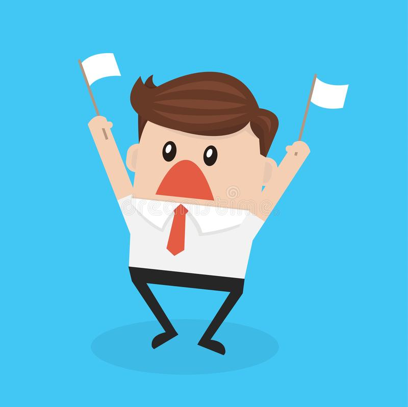 Businessman holds white flag of surrender flat design vector. Businessman holds white flag of surrender, vector illustion flat design style vector illustration