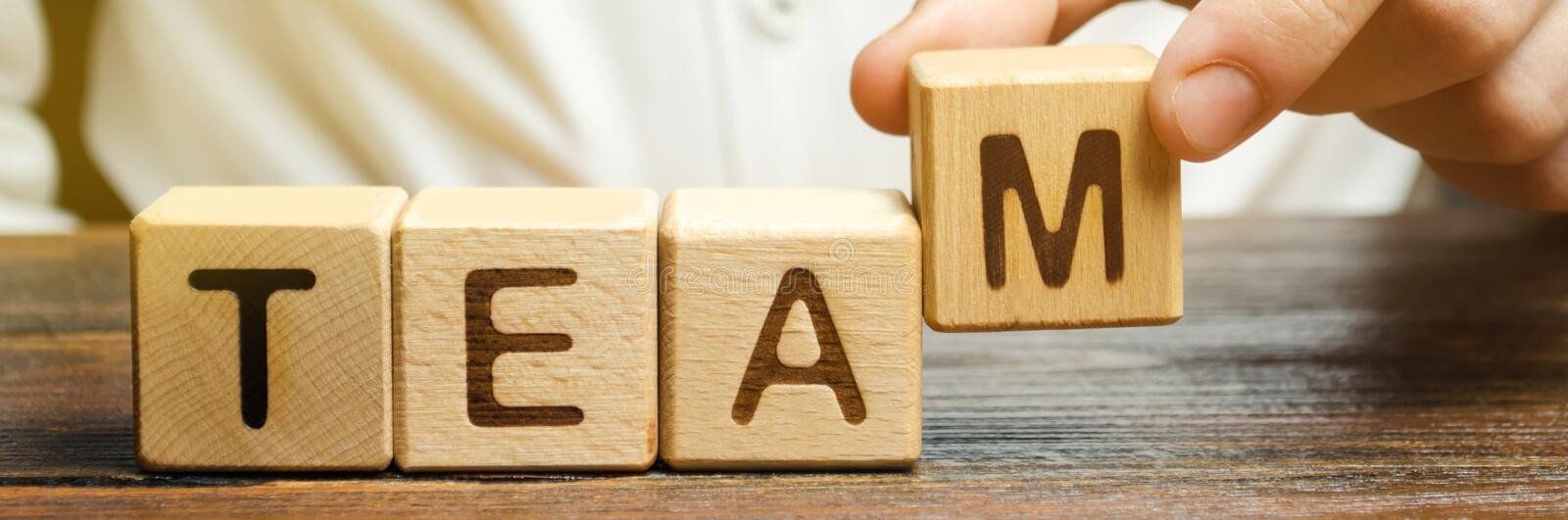 Businessman holds wooden blocks with the word Team. Team management concept. Teamwork. Hiring. Recruitment staff. Work in. Cooperation. Leadership skills royalty free stock images
