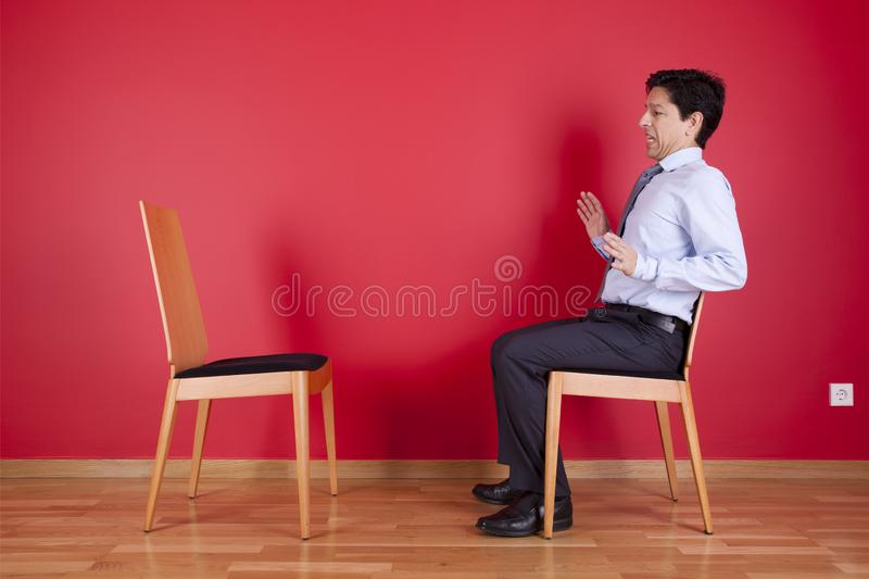 Businessman with fear stock photography