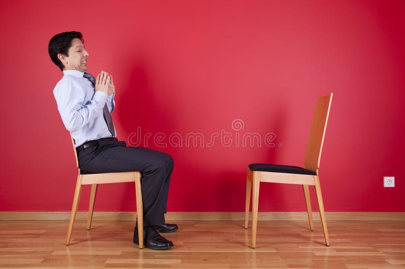 Businessman with fear royalty free stock image
